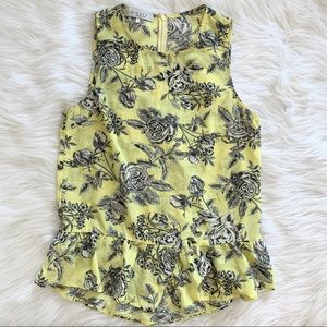 WAYF Yellow Black Floral Ruffle Peplum Blouse